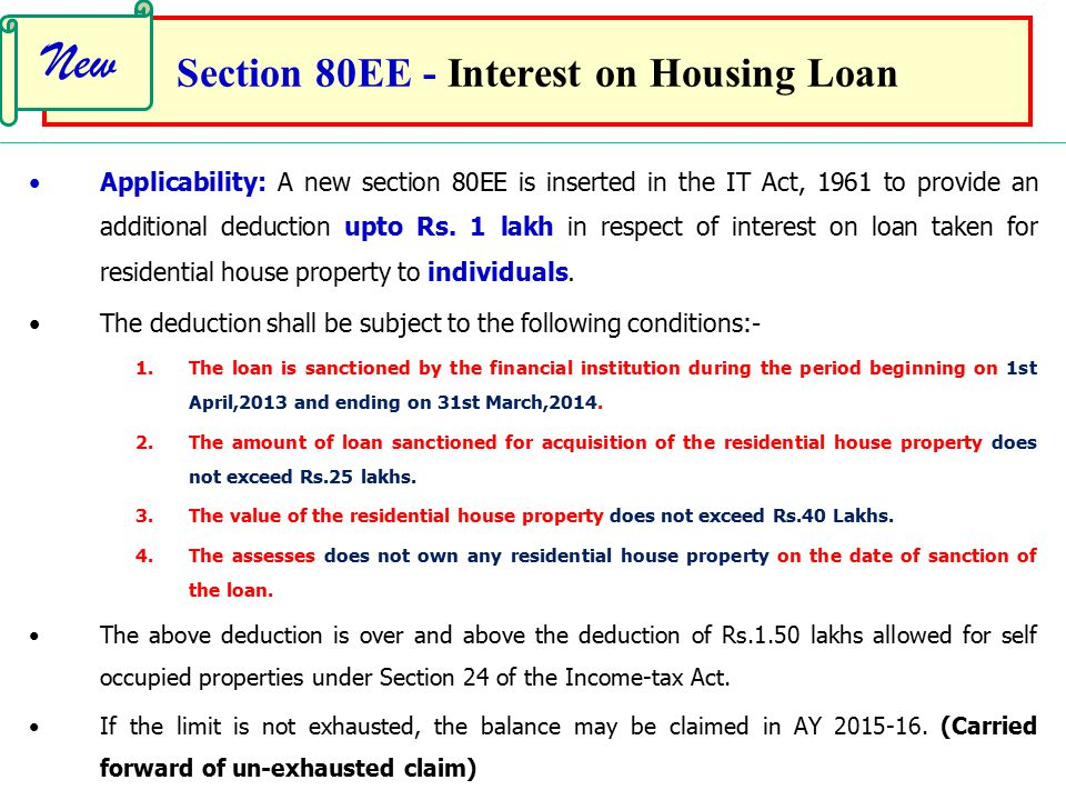 Section 80EE - Interest on Housing Loan