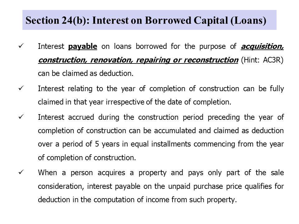 Section 24(b): Interest on Borrowed Capital (Loans)