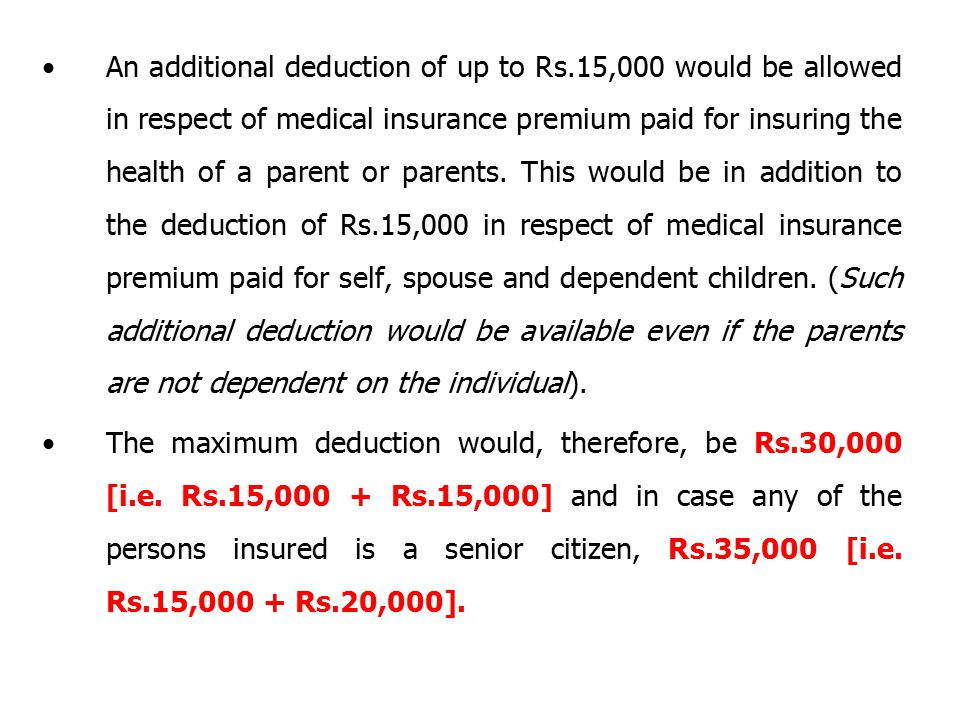 An additional deduction of up to Rs