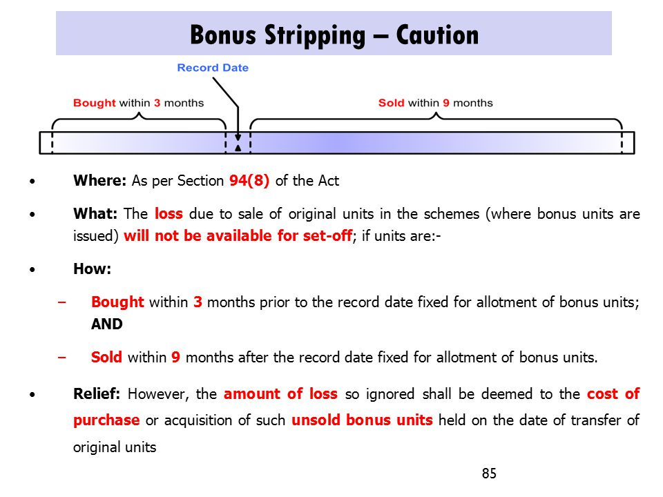 Bonus Stripping – Caution