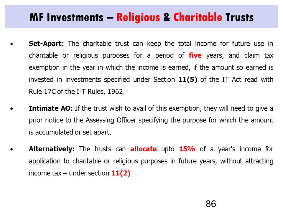 MF Investments – Religious & Charitable Trusts