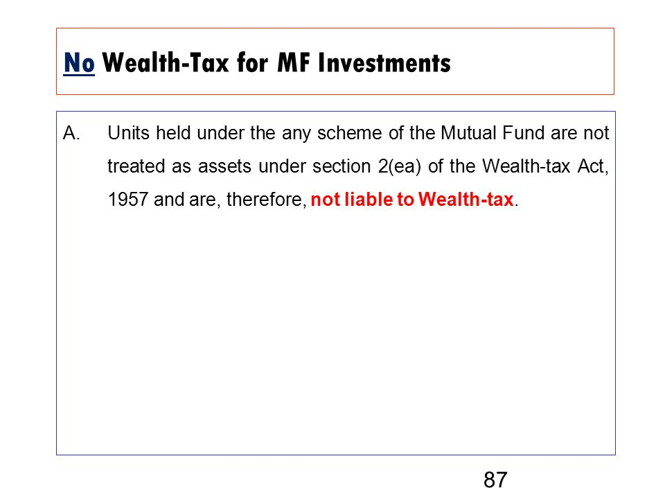 No Wealth-Tax for MF Investments