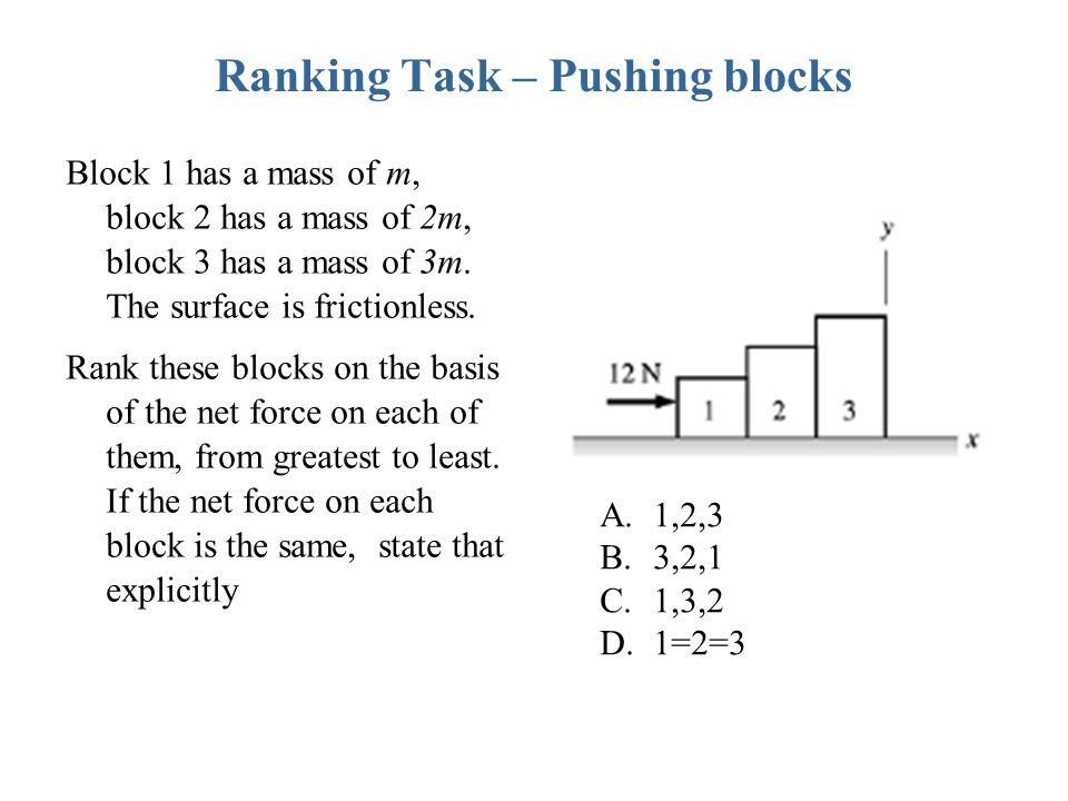 Ranking Task – Pushing blocks