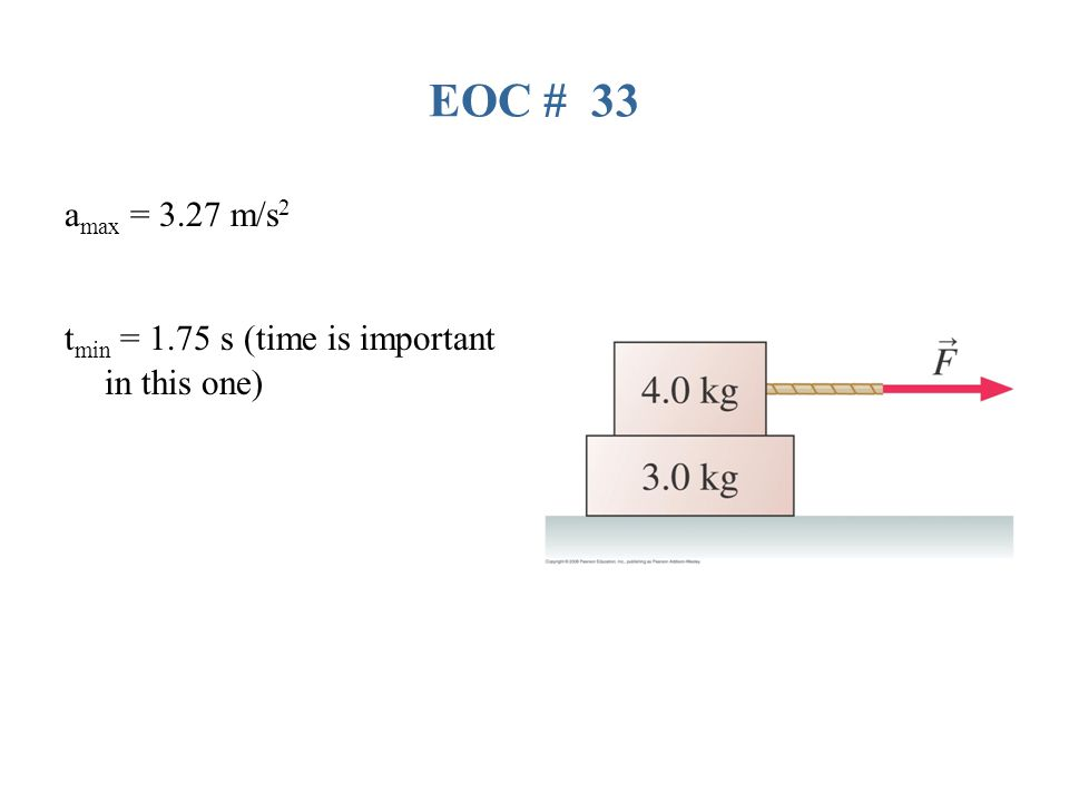EOC # 33 amax = 3.27 m/s2 tmin = 1.75 s (time is important in this one)