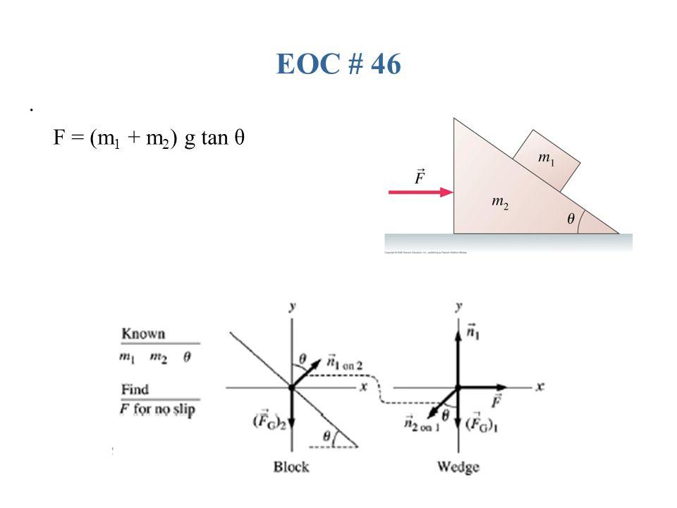 EOC # 46 . F = (m1 + m2) g tan θ