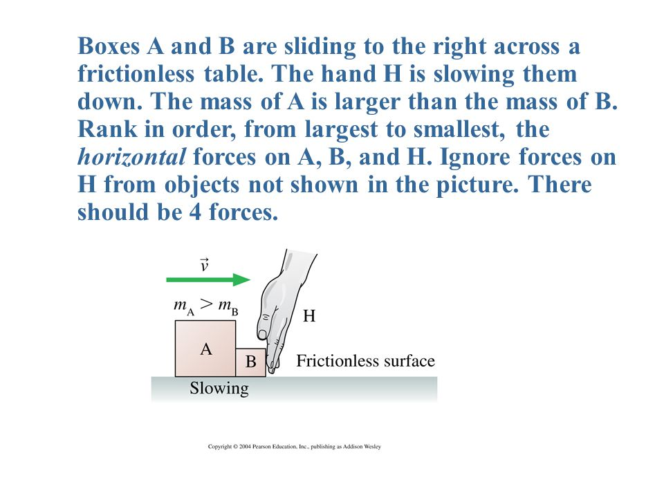 Boxes A and B are sliding to the right across a frictionless table