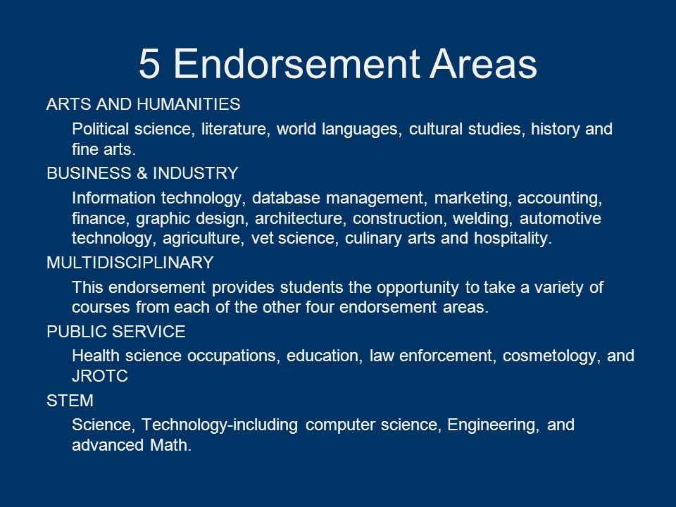5 Endorsement Areas