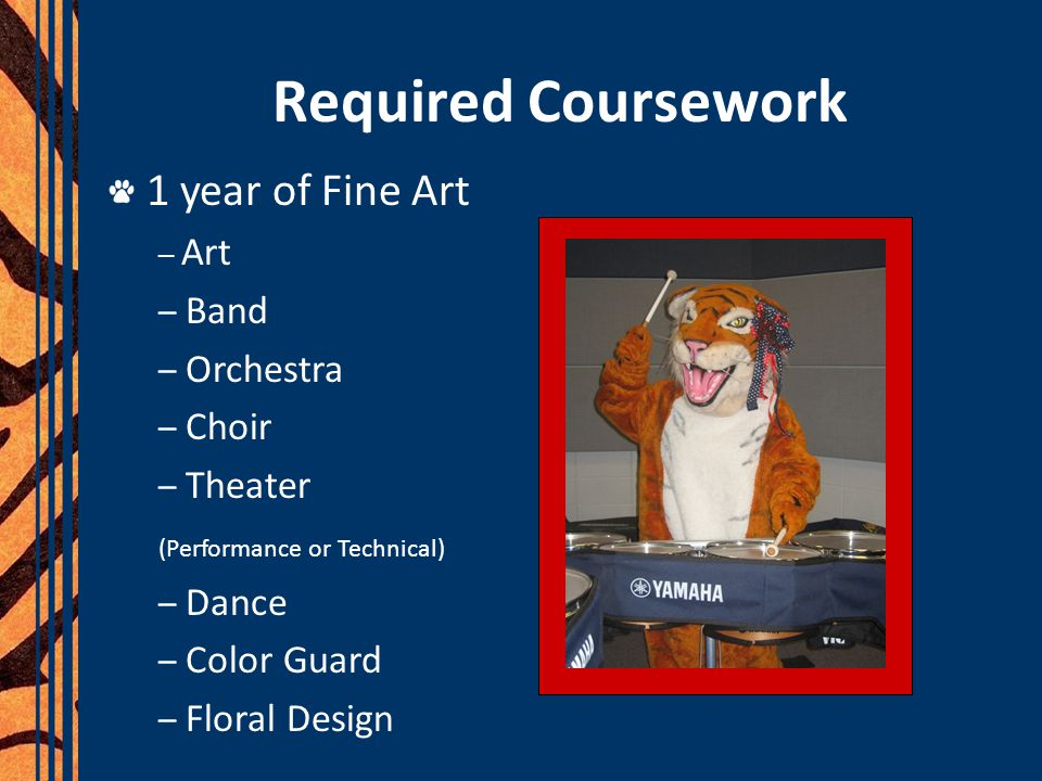 Required Coursework 1 year of Fine Art Band Orchestra Choir Theater
