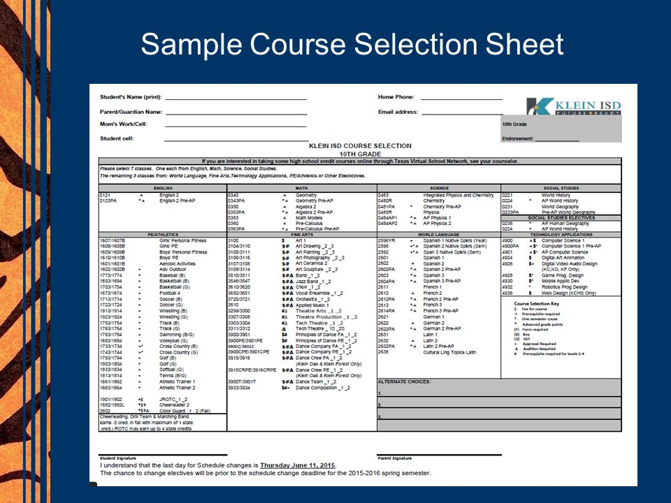 Sample Course Selection Sheet