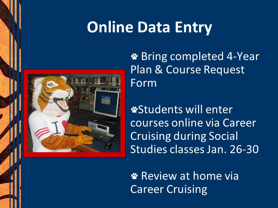 Online Data Entry Bring completed 4-Year Plan & Course Request Form