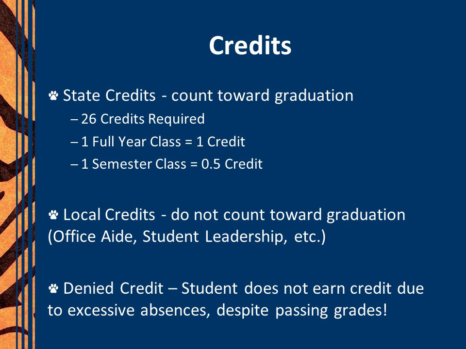 Credits State Credits - count toward graduation