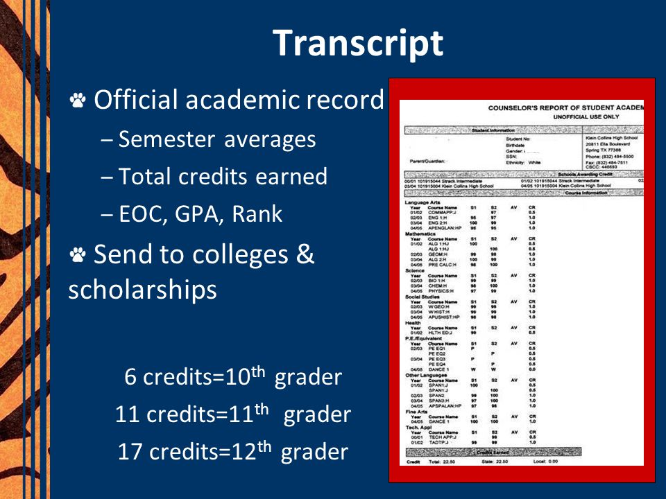 Transcript Official academic record Send to colleges & scholarships