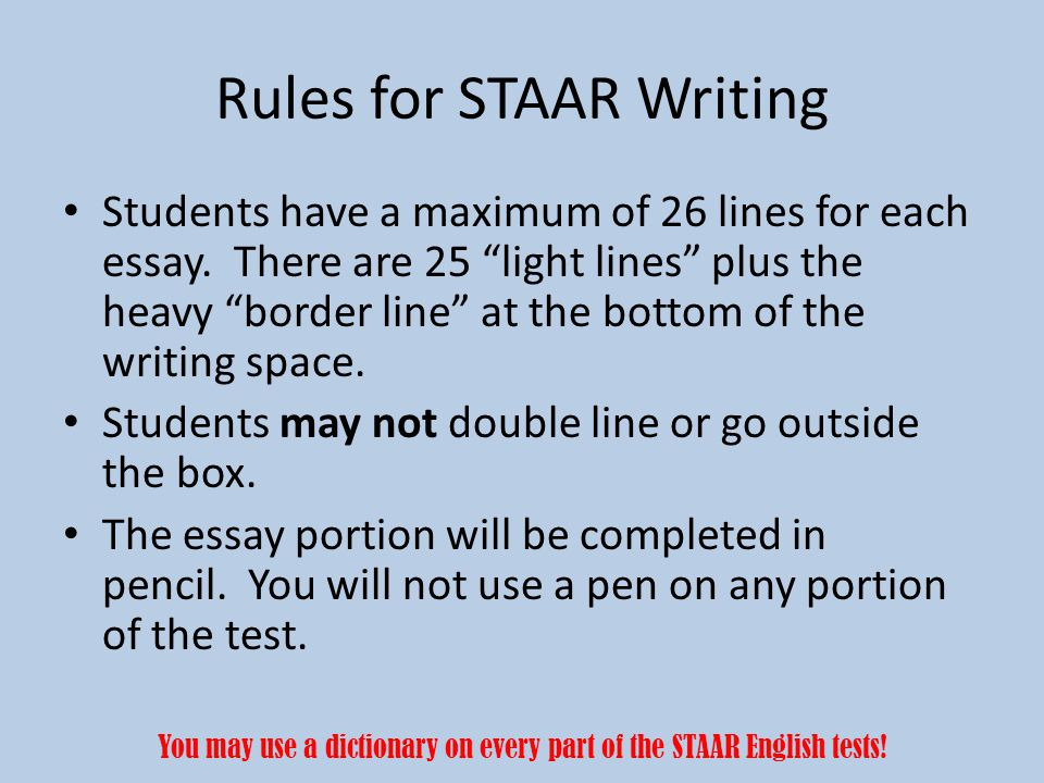 Rules for STAAR Writing
