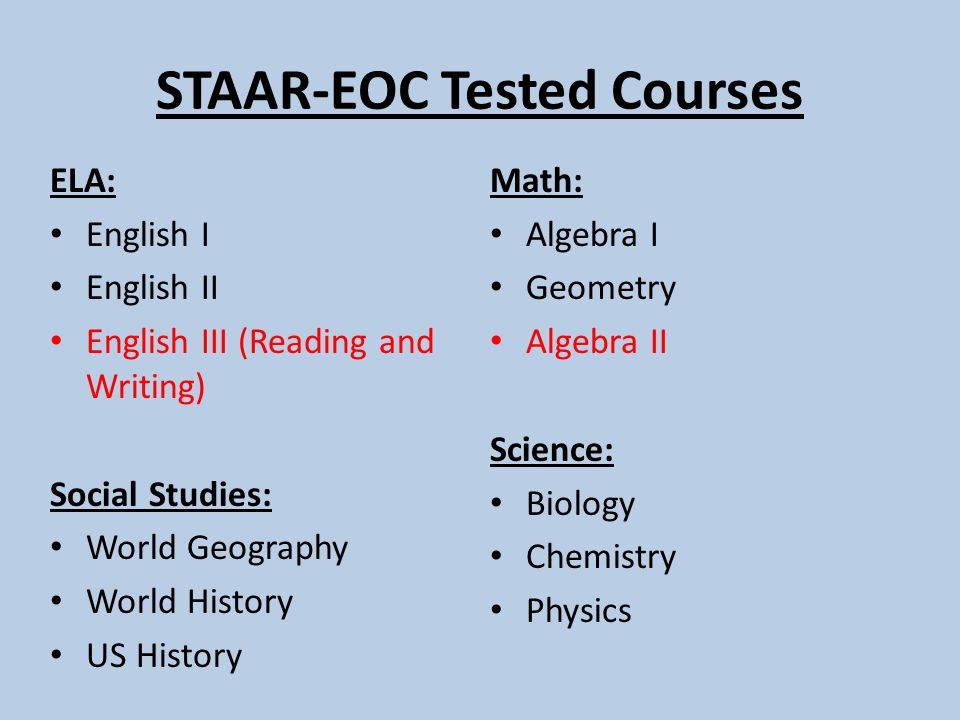 STAAR-EOC Tested Courses