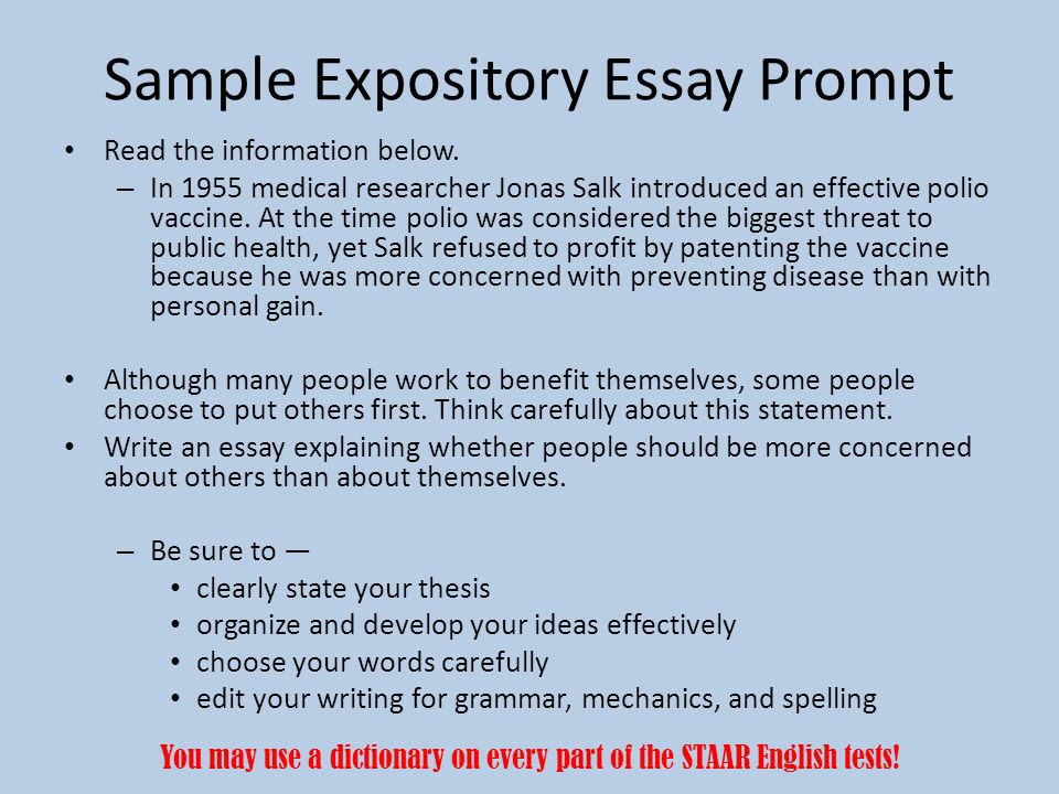 exposition writing topics Learn how to write an expository essay with this guide to the different types of exposition find tips and strategies for writing an expository article.
