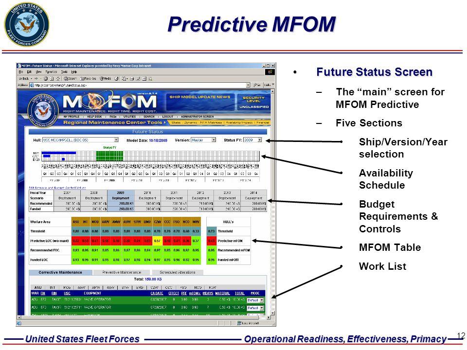 Predictive MFOM Future Status Screen