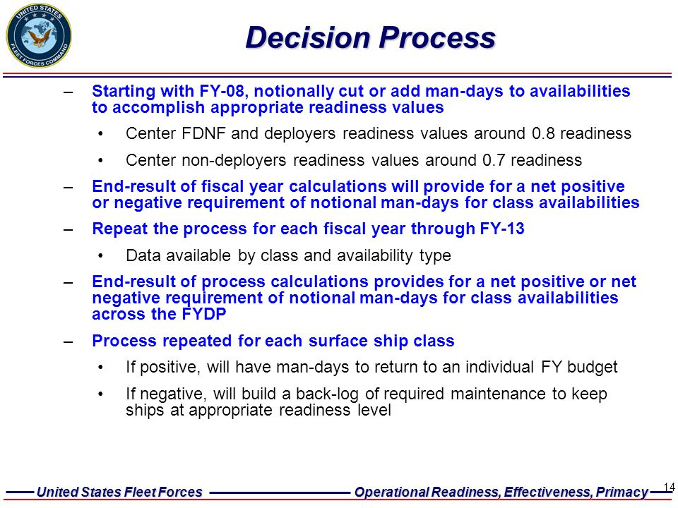Decision Process Starting with FY-08, notionally cut or add man-days to availabilities to accomplish appropriate readiness values.