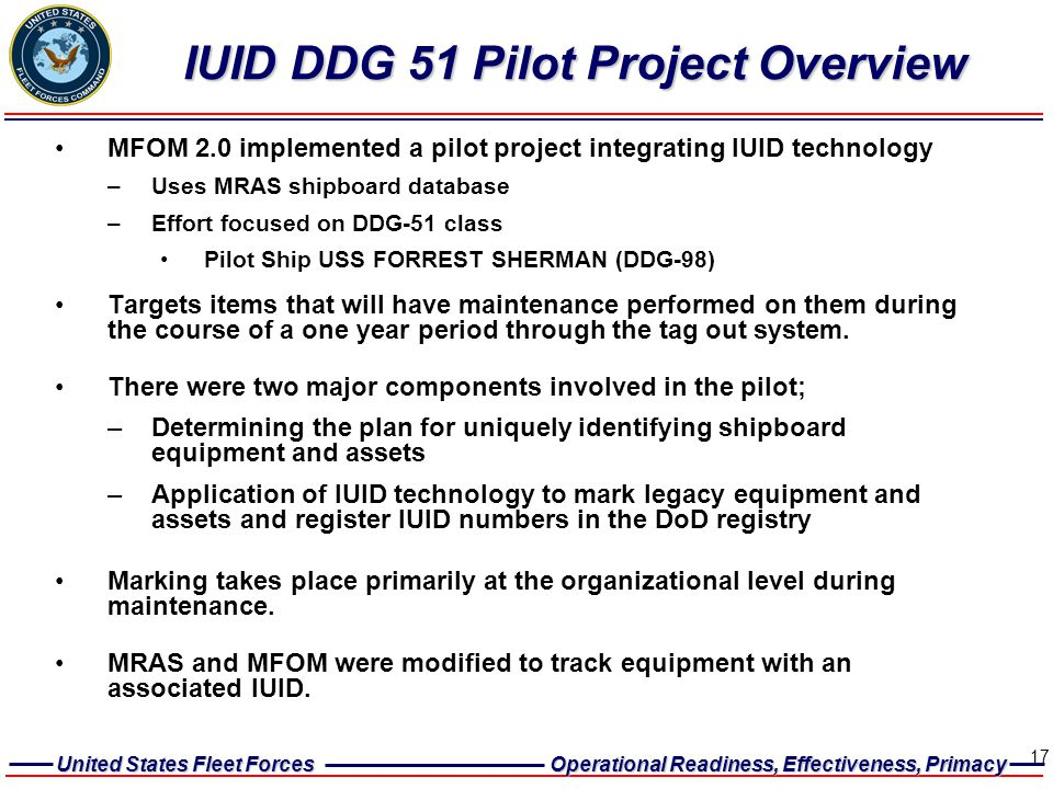 IUID DDG 51 Pilot Project Overview