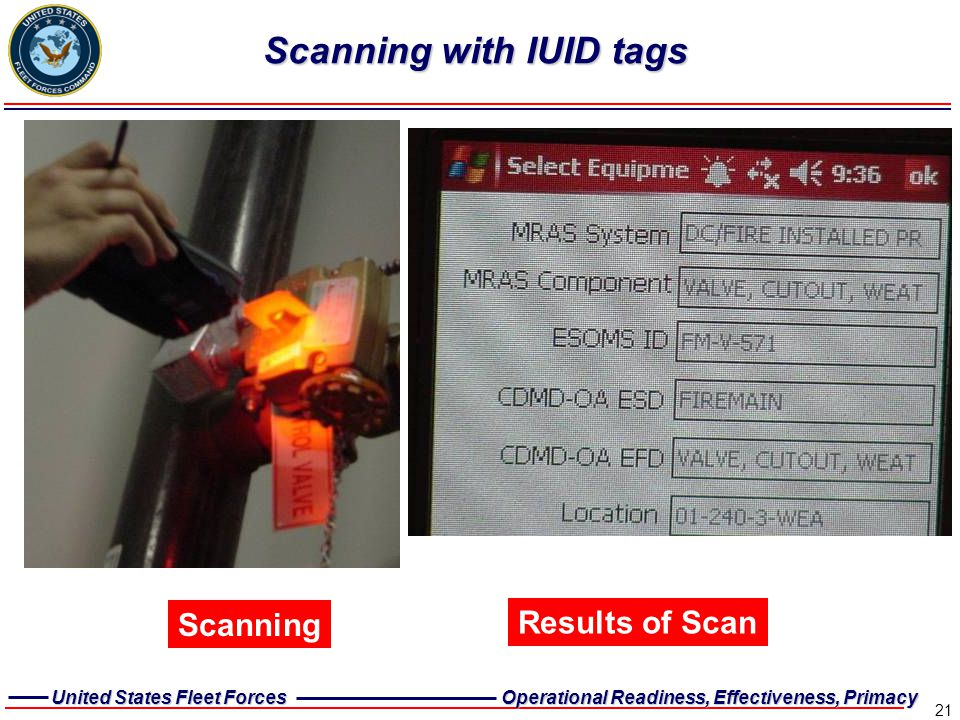 Scanning with IUID tags