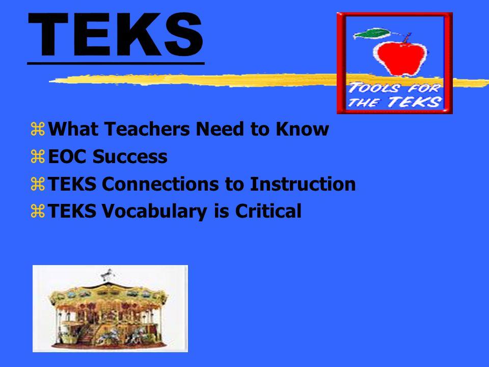 TEKS What Teachers Need to Know EOC Success
