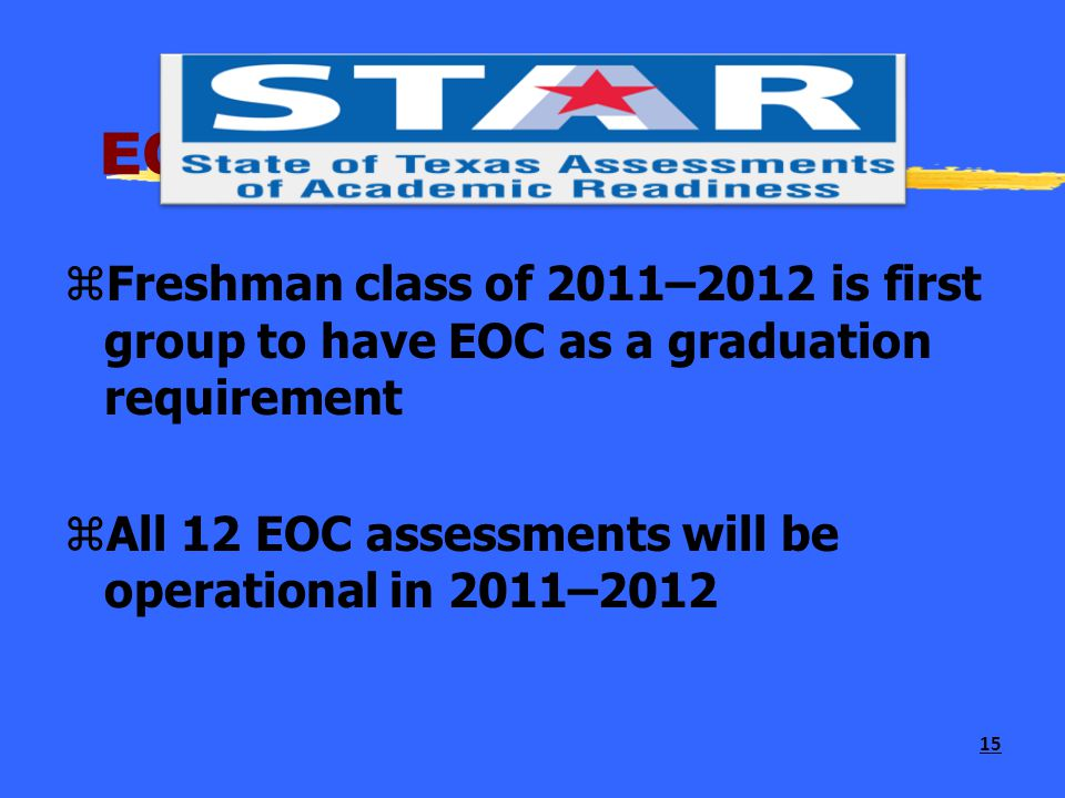 EOC Assessments Freshman class of 2011–2012 is first group to have EOC as a graduation requirement.
