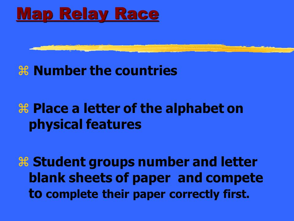 Map Relay Race Number the countries