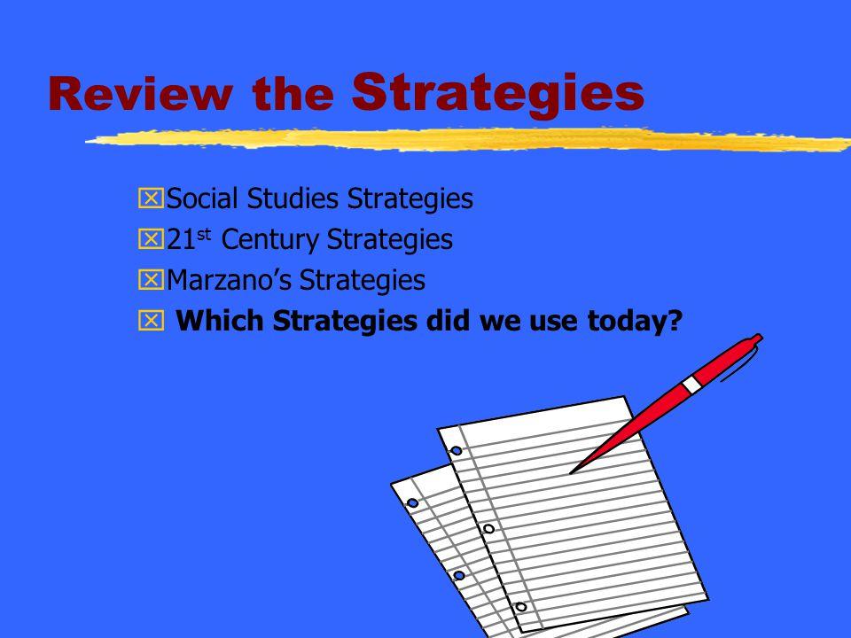 Review the Strategies Social Studies Strategies