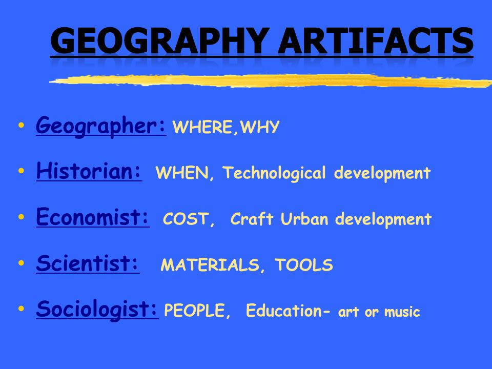 Geography Artifacts Geographer: WHERE,WHY