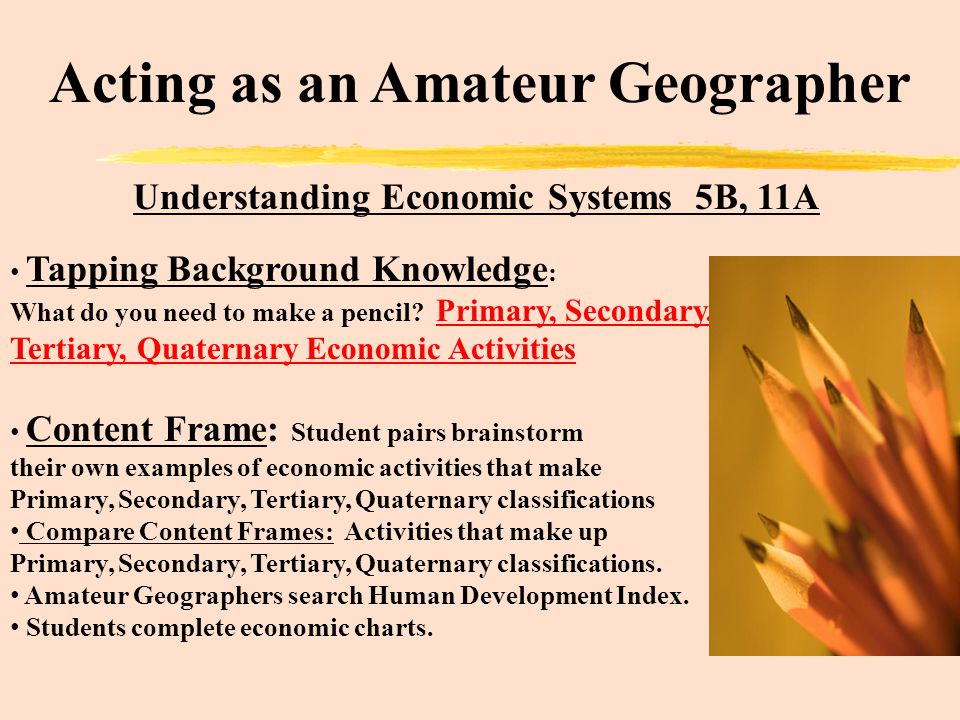 Acting as an Amateur Geographer Understanding Economic Systems 5B, 11A