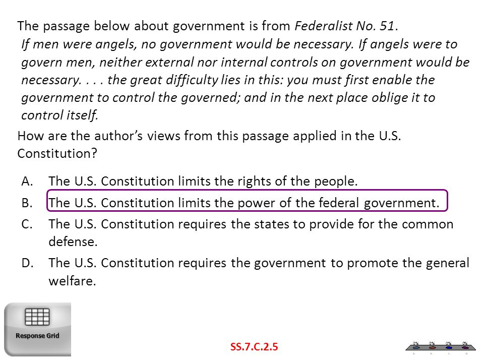 The U.S. Constitution limits the rights of the people.