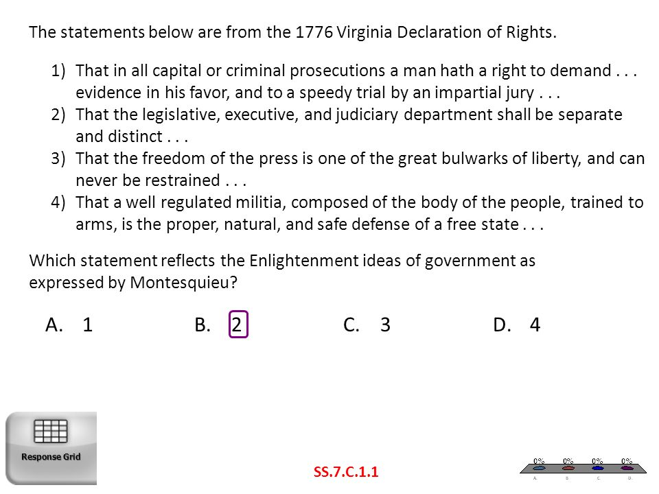 The statements below are from the 1776 Virginia Declaration of Rights