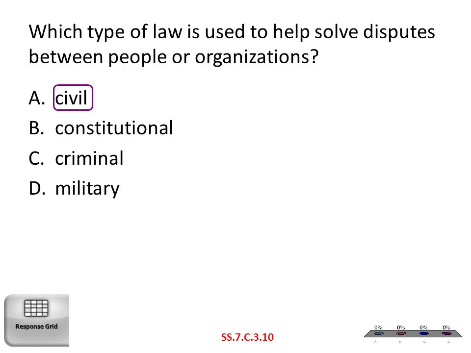 Which type of law is used to help solve disputes between people or organizations