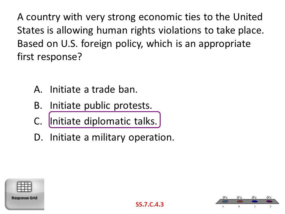 Initiate public protests. Initiate diplomatic talks.