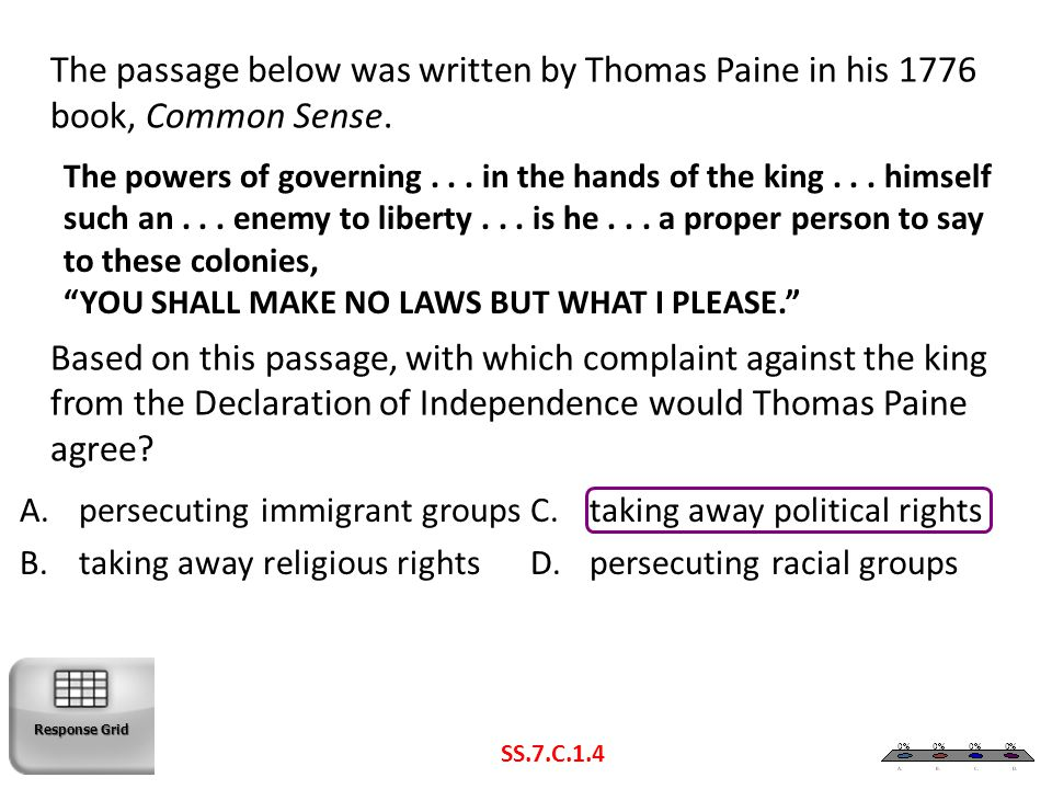 The passage below was written by Thomas Paine in his 1776 book, Common Sense. Based on this passage, with which complaint against the king from the Declaration of Independence would Thomas Paine agree