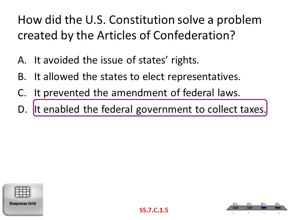 How did the U.S. Constitution solve a problem created by the Articles of Confederation