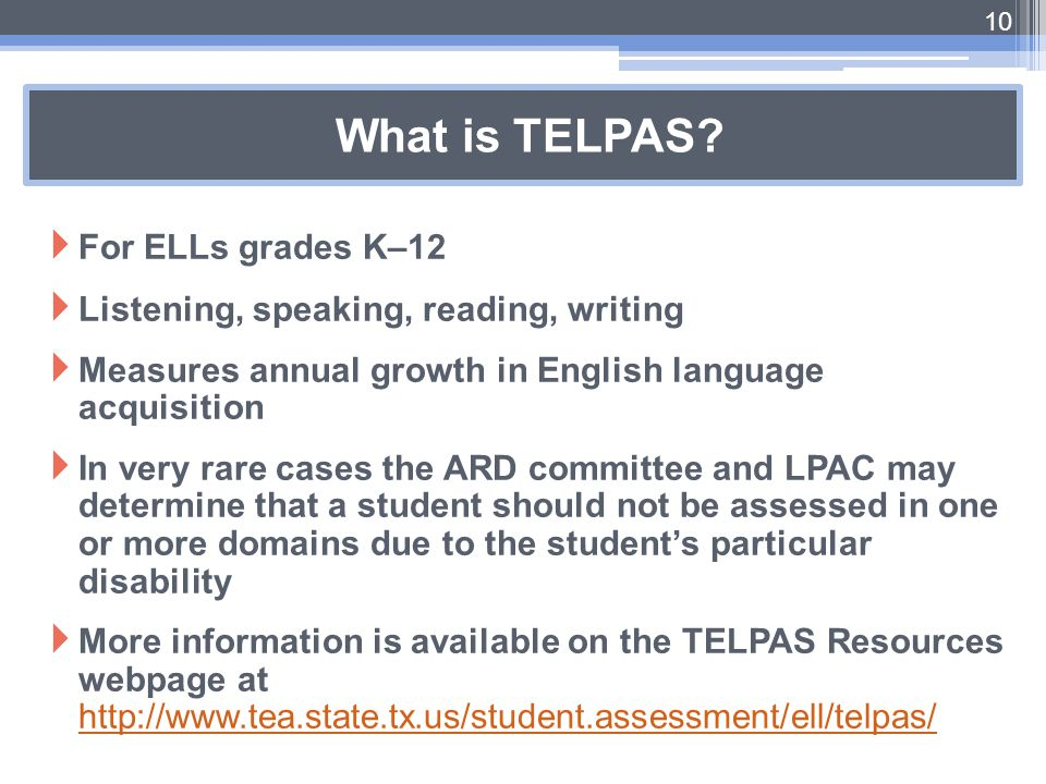 What is TELPAS For ELLs grades K–12