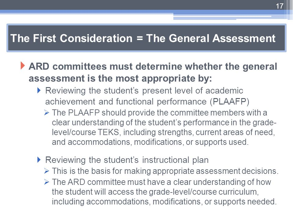 The First Consideration = The General Assessment