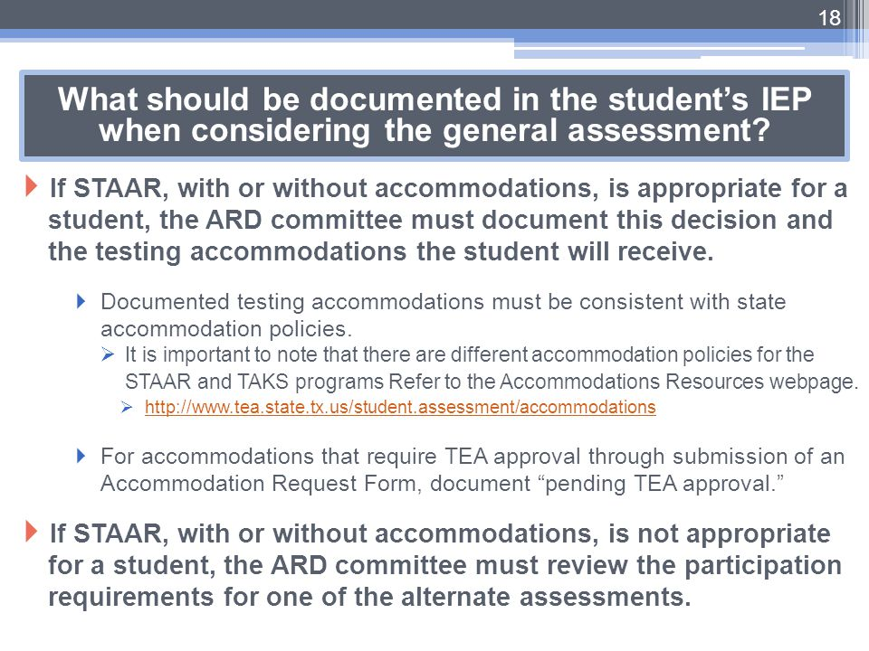 What should be documented in the student's IEP when considering the general assessment
