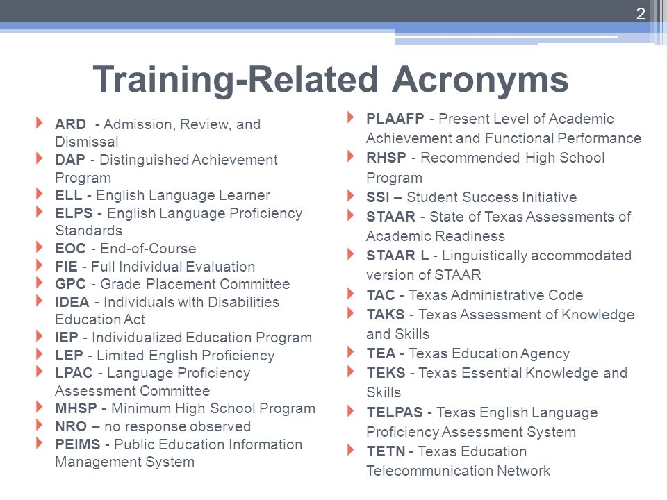 Training-Related Acronyms