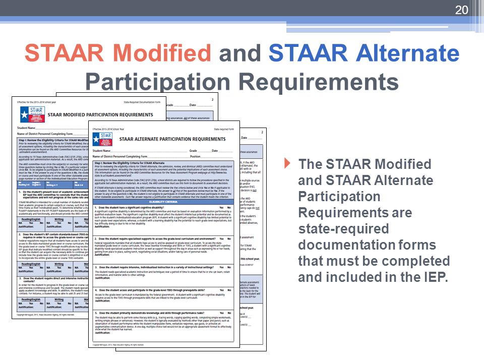STAAR Modified and STAAR Alternate Participation Requirements