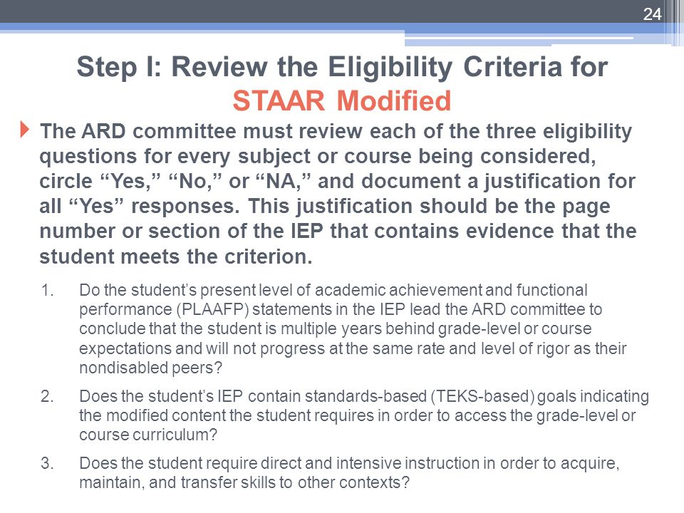 Step I: Review the Eligibility Criteria for STAAR Modified
