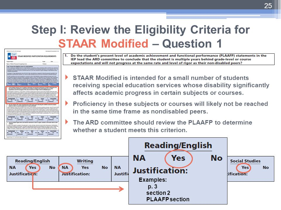 Step I: Review the Eligibility Criteria for STAAR Modified – Question 1