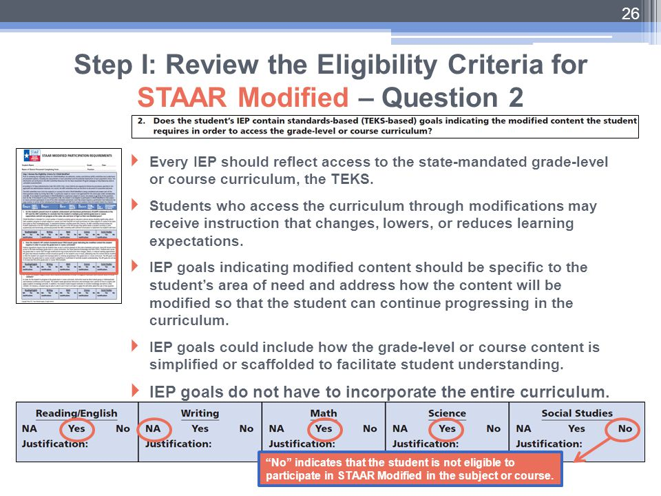Step I: Review the Eligibility Criteria for STAAR Modified – Question 2