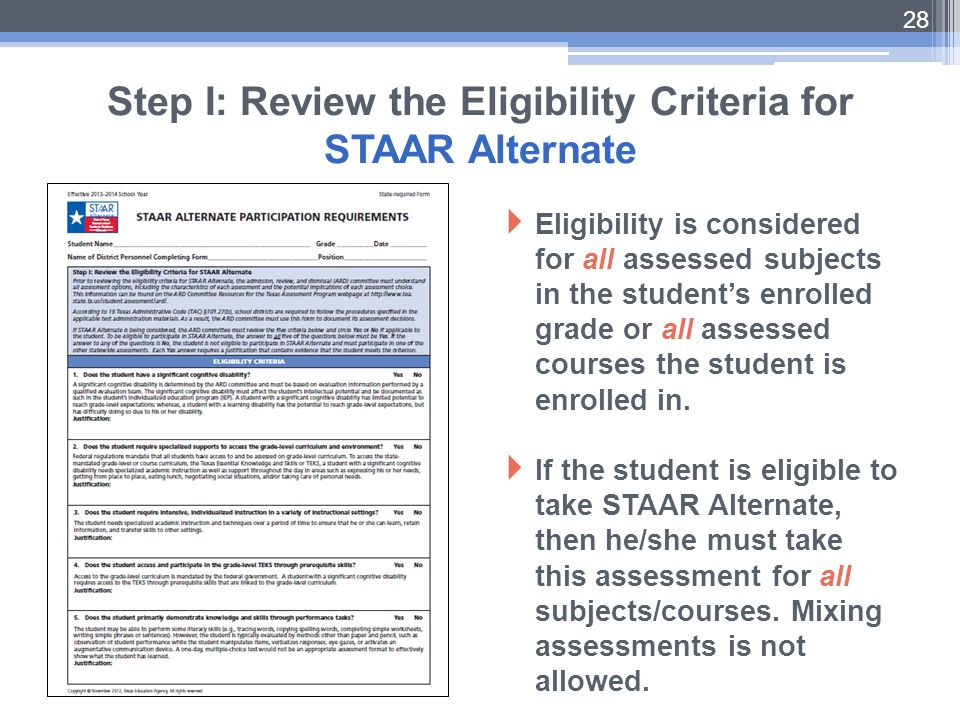 Step I: Review the Eligibility Criteria for STAAR Alternate