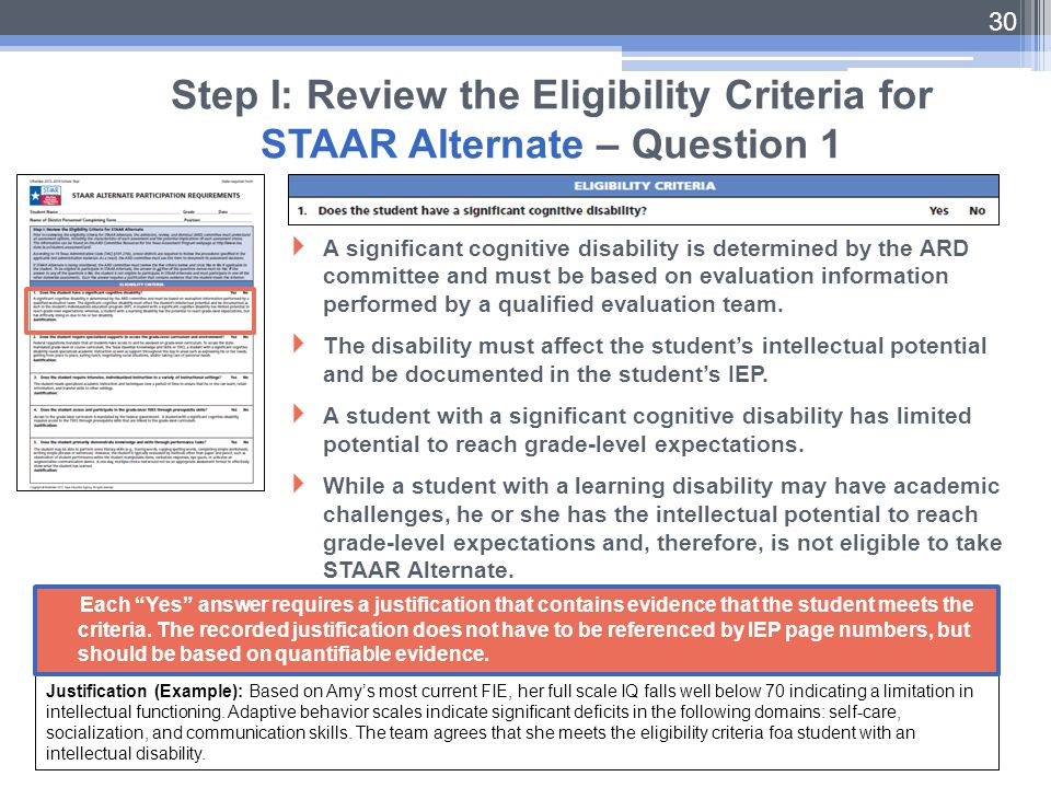 Step I: Review the Eligibility Criteria for