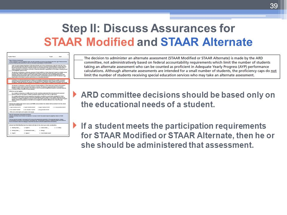 Step II: Discuss Assurances for STAAR Modified and STAAR Alternate