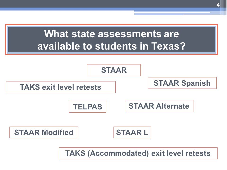 What state assessments are available to students in Texas