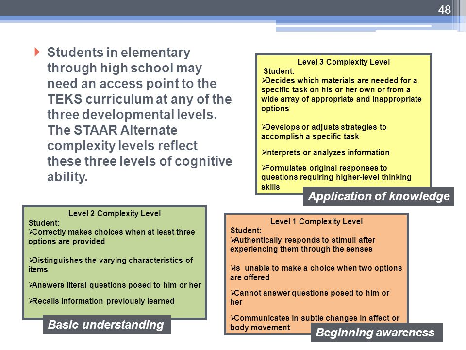 Students in elementary through high school may need an access point to the TEKS curriculum at any of the three developmental levels. The STAAR Alternate complexity levels reflect these three levels of cognitive ability.