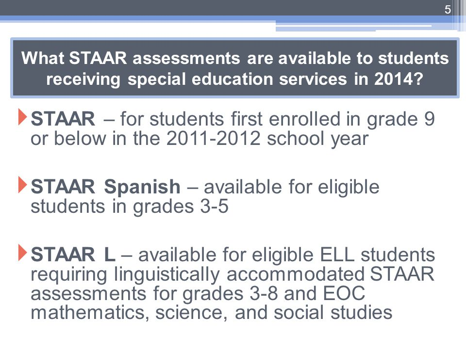 STAAR Spanish – available for eligible students in grades 3-5