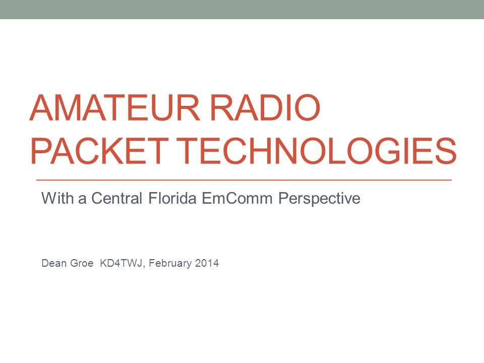 Amateur radio Packet technologies